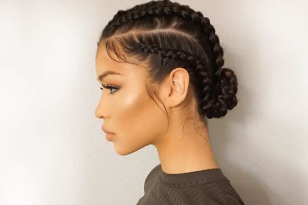 Low Bun With Micro Braids of Curly Hair
